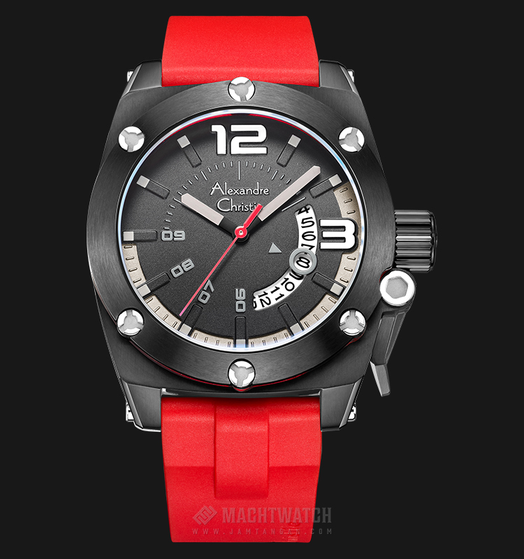 Alexandre Christie AC 6456 MD RIPBA Man Black Dial Red Rubber Strap Machtwatch