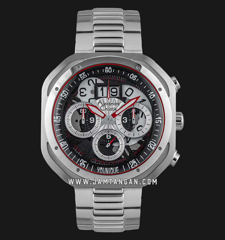 Alexandre Christie AC 6468 MC BSSBA Younique Man Chronograph Skeleton Dial Stainless Steel Machtwatch