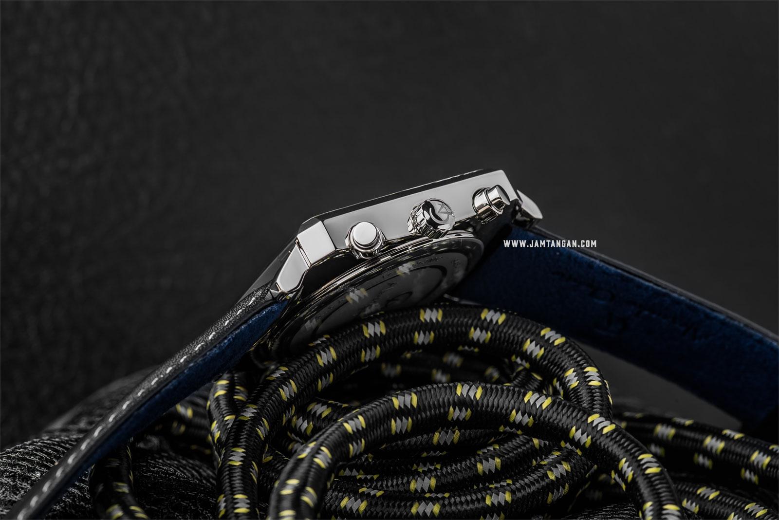 Alexandre Christie AC 6484 MC LSSBASL Chronograph Men White Dial Black Leather Strap Machtwatch