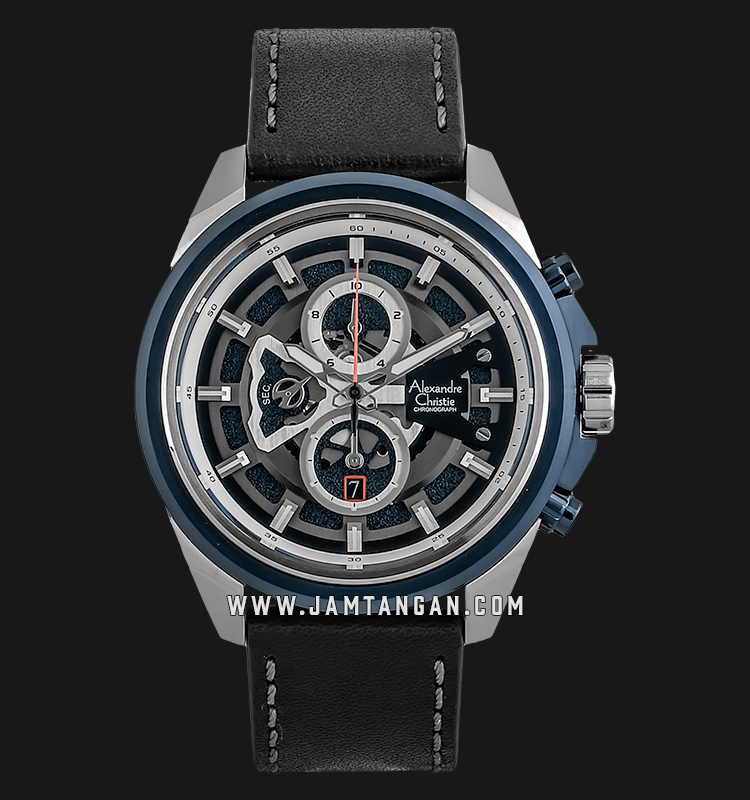 Alexandre Christie AC 6504 MC LTUBU Sport Chronograph Men Skeleton Dial Black Leather Strap Machtwatch