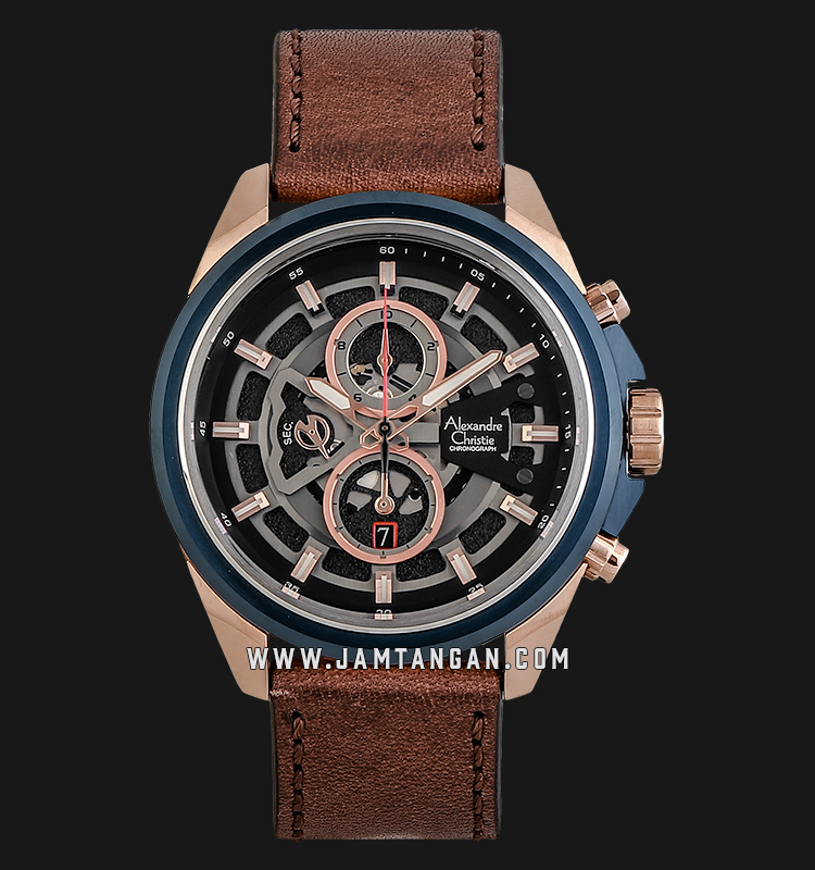 Alexandre Christie AC 6504 MC LURBA Sport Chronograph Men Skeleton Dial Brown Leather Strap Machtwatch