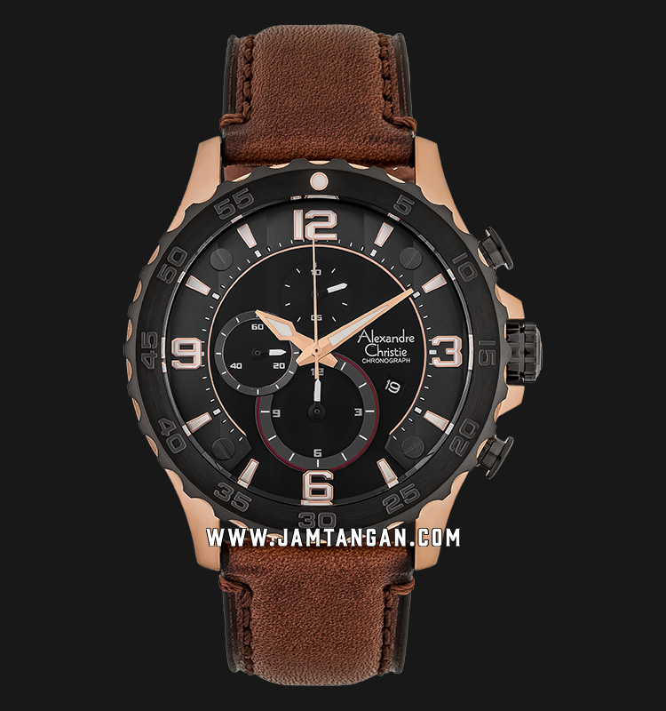 Alexandre Christie AC 6505 MC LBRBA Chronograph Men Black Dial Brown Leather Strap Machtwatch
