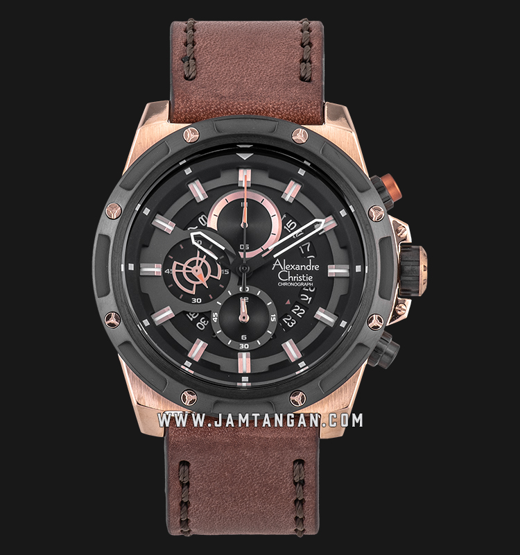 Alexandre Christie AC 6506 MC LBRBA Chronograph Men Black Dial Brown Leather Strap Machtwatch