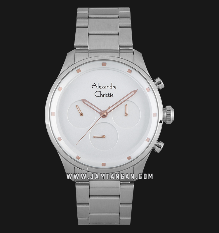 Alexandre Christie AC 6513 MF BSSSL Sport Chronograph Men White Dial Stainless Steel Strap Machtwatch