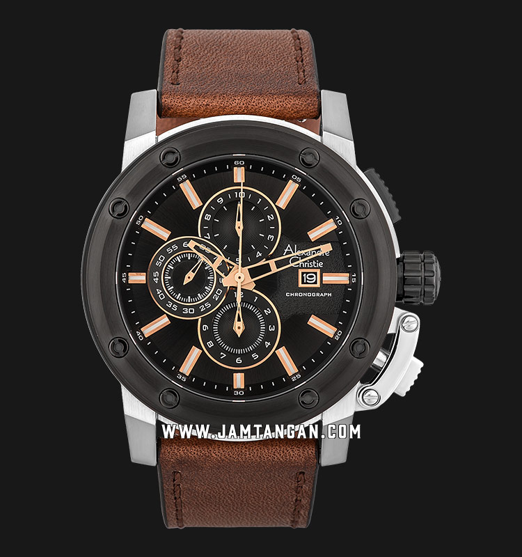 Alexandre Christie AC 6519 MC LTBBA Chronograph Men Black Dial Brown Leather Strap Machtwatch