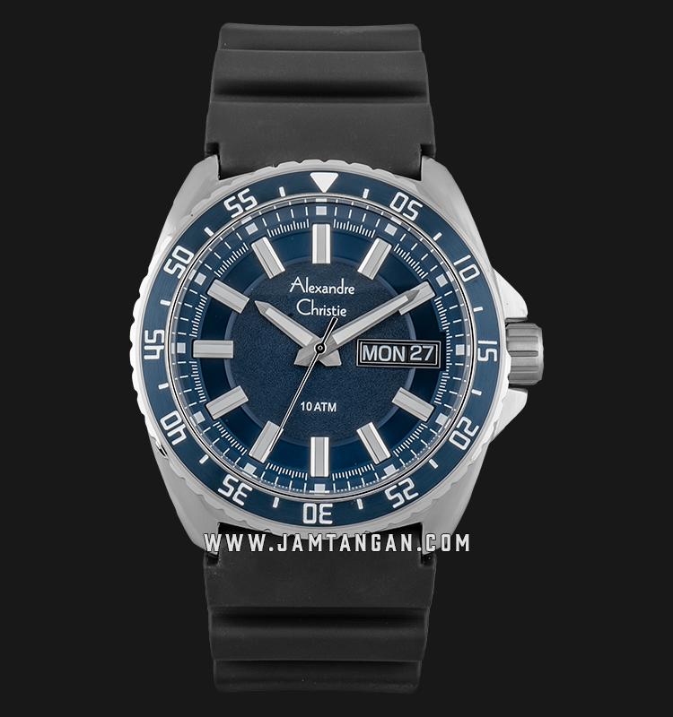 Alexandre Christie AC 6541 ME RSSBU Men Blue Dial Black Rubber Strap Machtwatch