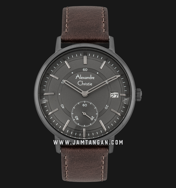 Alexandre Christie AC 6545 MS LIGGR Men Grey Dial Brown Leather ...