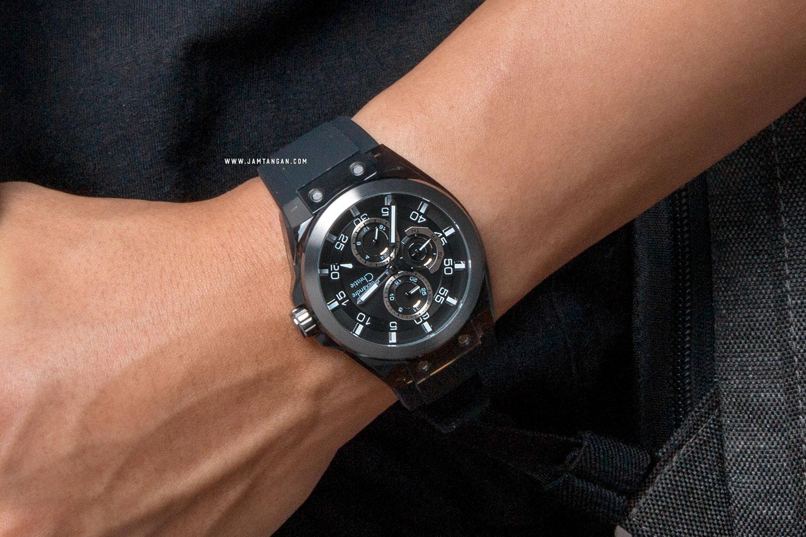 Alexandre Christie AC 6546 MF REPBA Men Black Dial Black Rubber Strap Machtwatch