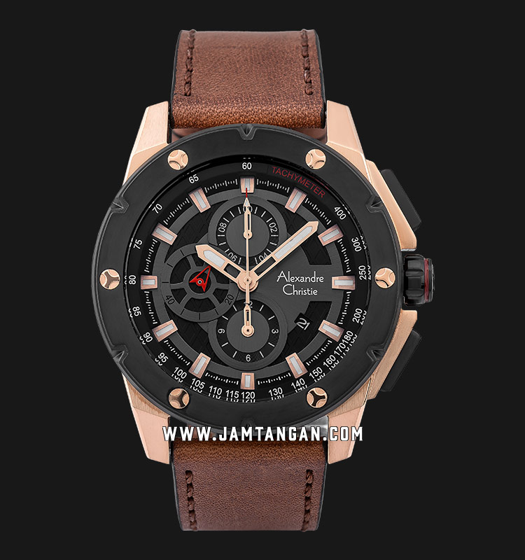 Alexandre Christie AC 6549 MC LBRBA Chronograph Men Black Dial Brown Leather Strap Machtwatch