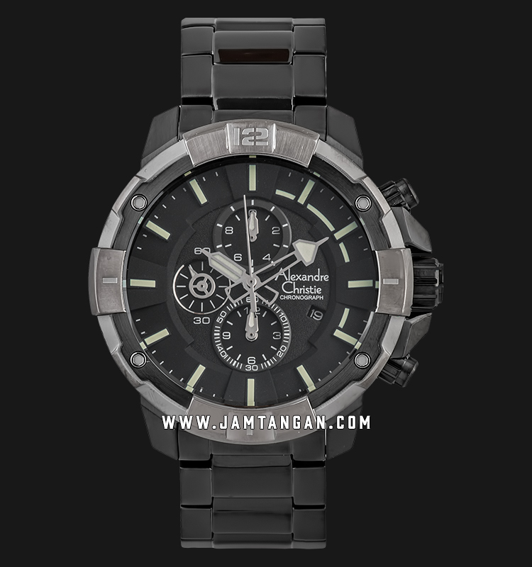 Alexandre Christie AC 6551 MC BEPBA Chronograph Men Black Dial Black Stainless Steel Machtwatch