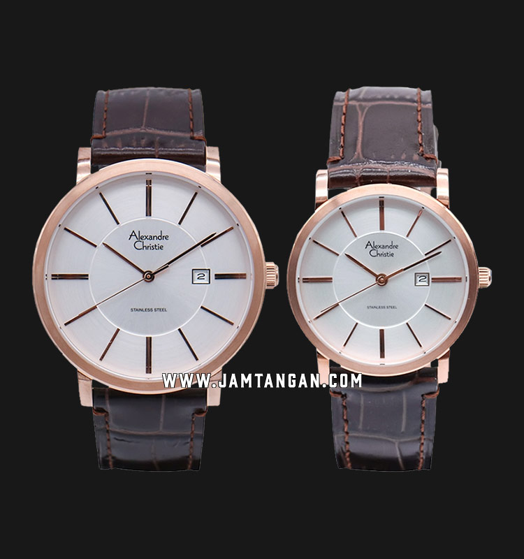 Alexandre Christie AC 8344 LRGSL Couple White Sunray Dial Brown Leather  Strap | Jamtangan.com