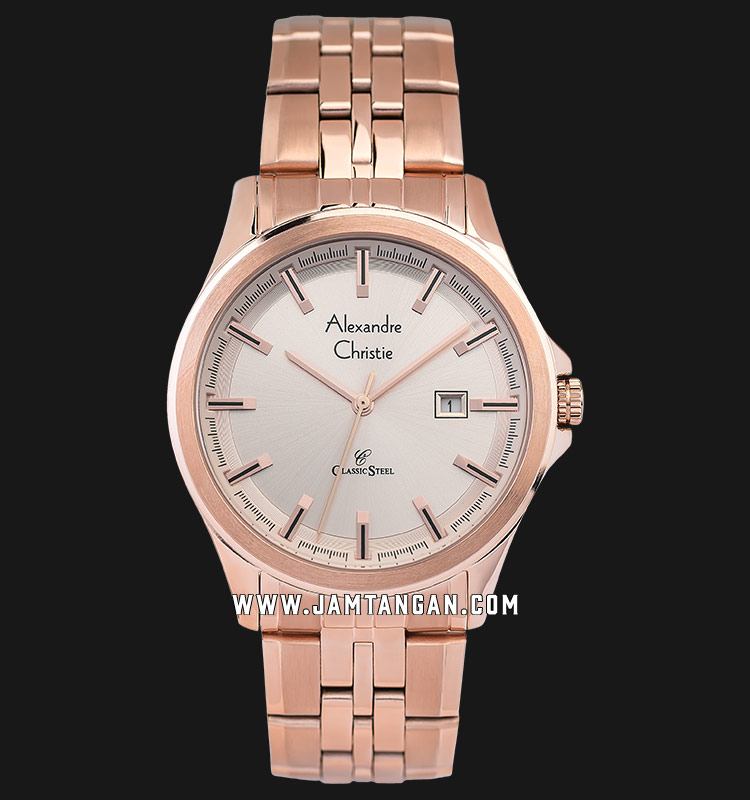 Alexandre Christie AC 8402 MD BRGLN Men Light Rose Gold Dial Rose Gold Stainless Steel Strap Machtwatch