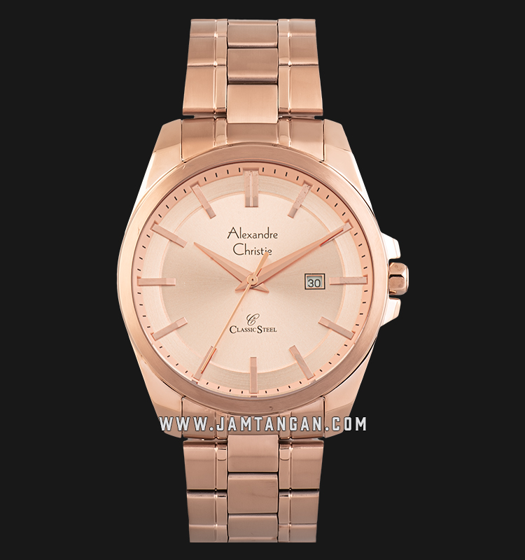 Alexandre Christie AC 8404 MD BRGLN Classic Steel Men Rose Gold Dial Rose Gold Stainless Steel Machtwatch