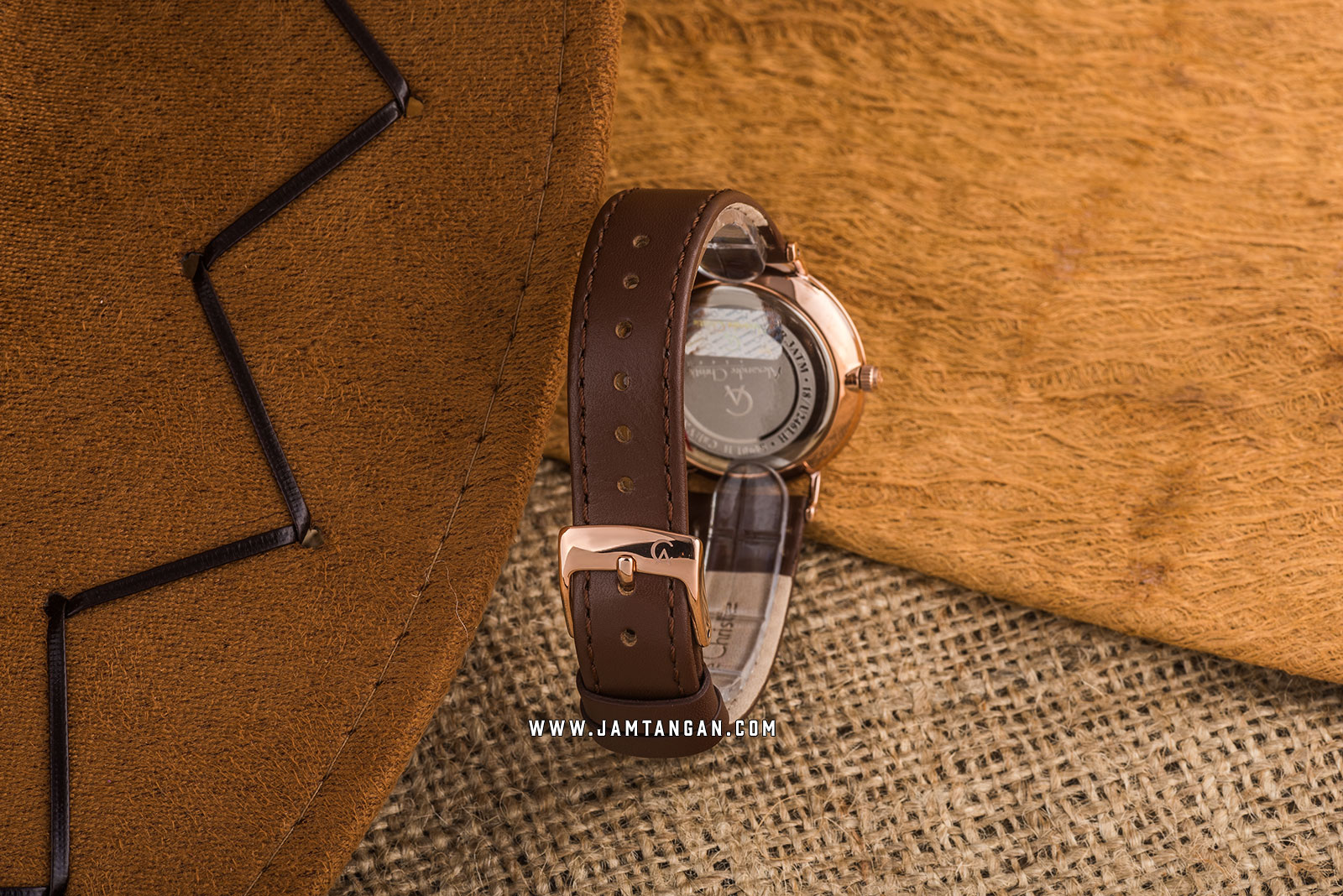 Alexandre Christie AC 8490 LH LRGSL Ladies White Dial Brown Leather Strap Machtwatch
