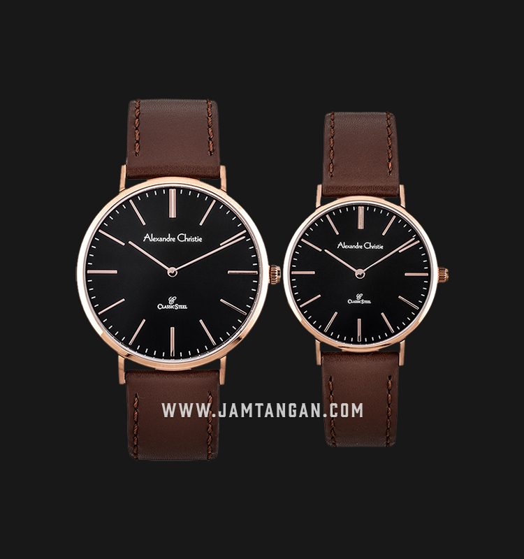 Alexandre Christie AC 8490 LRGBA Couple Black Dial Brown Leather Strap |  Jamtangan.com
