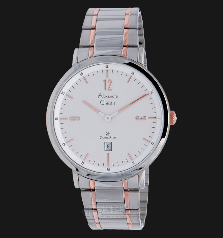 Alexandre Christie AC 8499 MD BTRSL Man Classic White Dial Stainless Steel Machtwatch