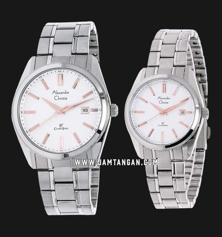 Alexandre Christie AC 8514 BSSSLRG Classic Steel Couple Silver Dial Stainless Steel Strap Machtwatch