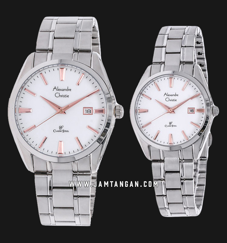 Alexandre Christie AC 8515 BSSSLRG Classic Steel Couple White Dial Stainless Steel Strap Machtwatch