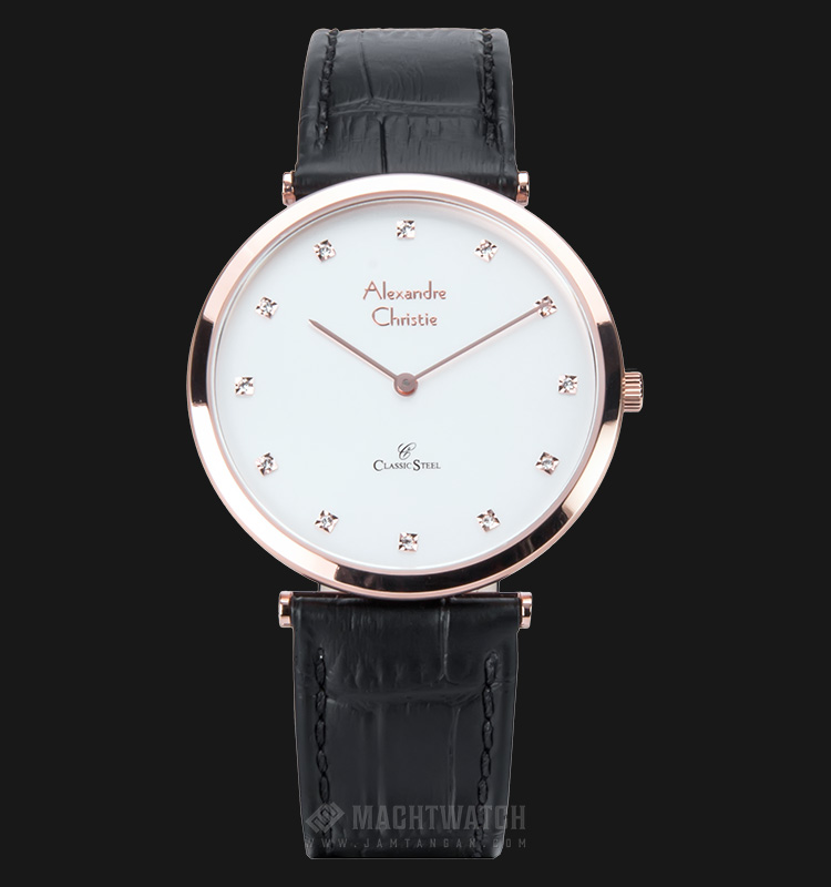 Alexandre Christie AC 8540 MH LRGSL Man Classic White Dial Leather Strap Machtwatch