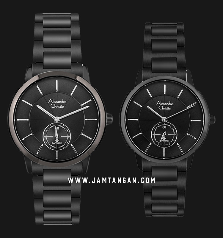 Alexandre Christie AC 8546 BEPBA Couple Black Dial Black Stainless Steel Strap Machtwatch