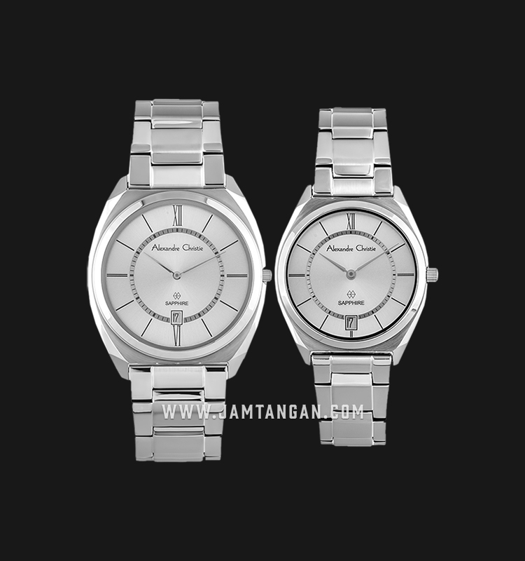 Alexandre Christie AC 8550 BSSSL Couple Silver Dial Stainless Steel Machtwatch