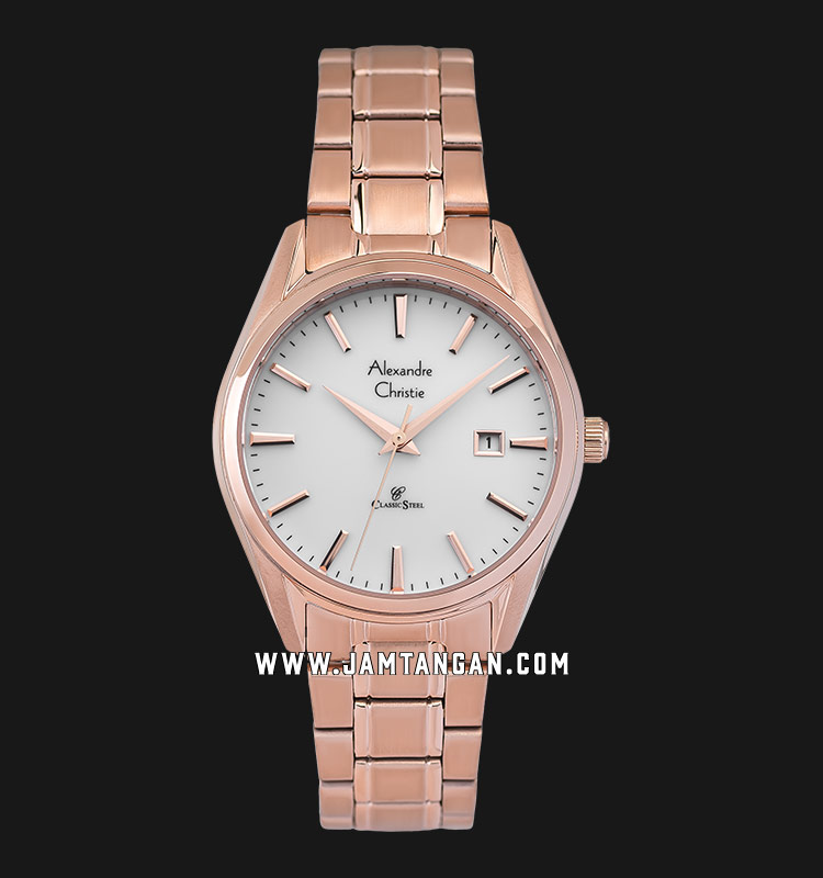 Alexandre Christie AC 8554 LD BRGSL Ladies Silver Gold Dial Rose Gold Stainless Steel Strap Machtwatch