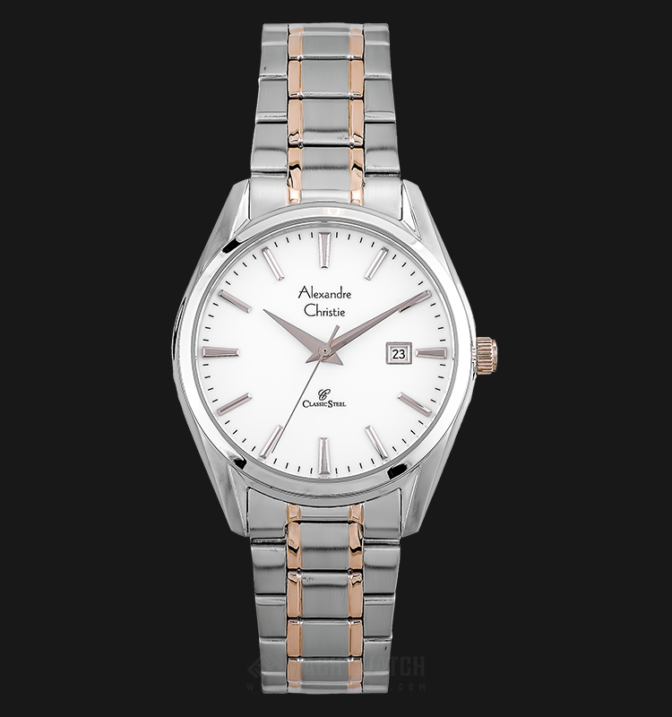 Alexandre Christie AC 8554 LD BTRSL Ladies White Dial Dual Tone Stainless Steel Machtwatch