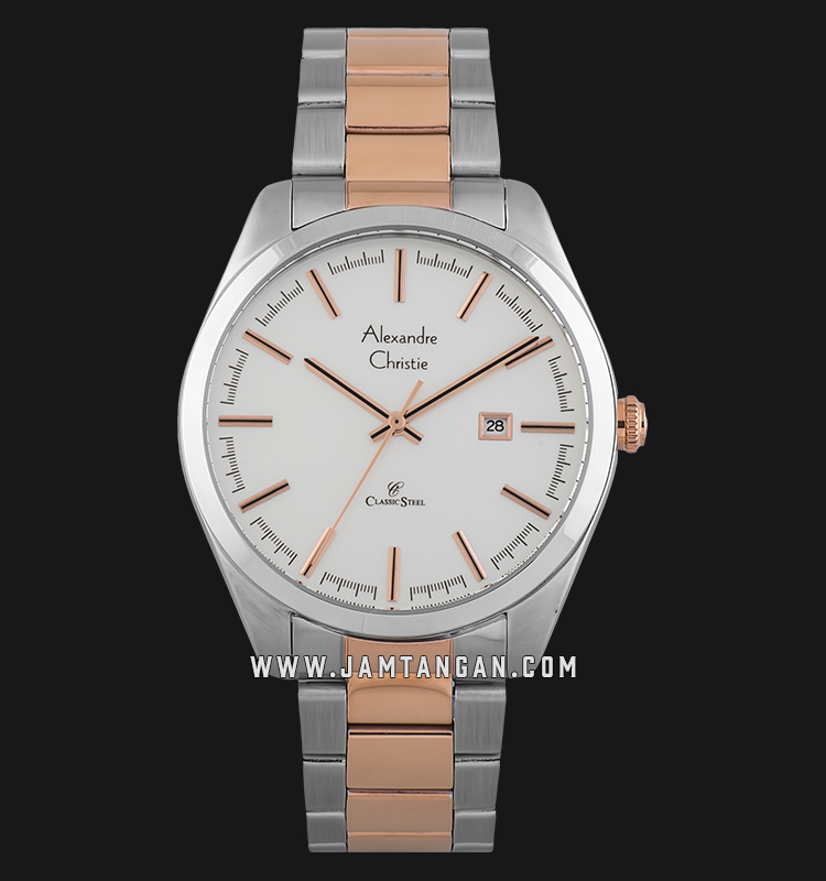 Alexandre Christie AC 8560 MD BTRSL Classic Steel Men Silver Dial Dual Tone Stainless Steel Strap Machtwatch