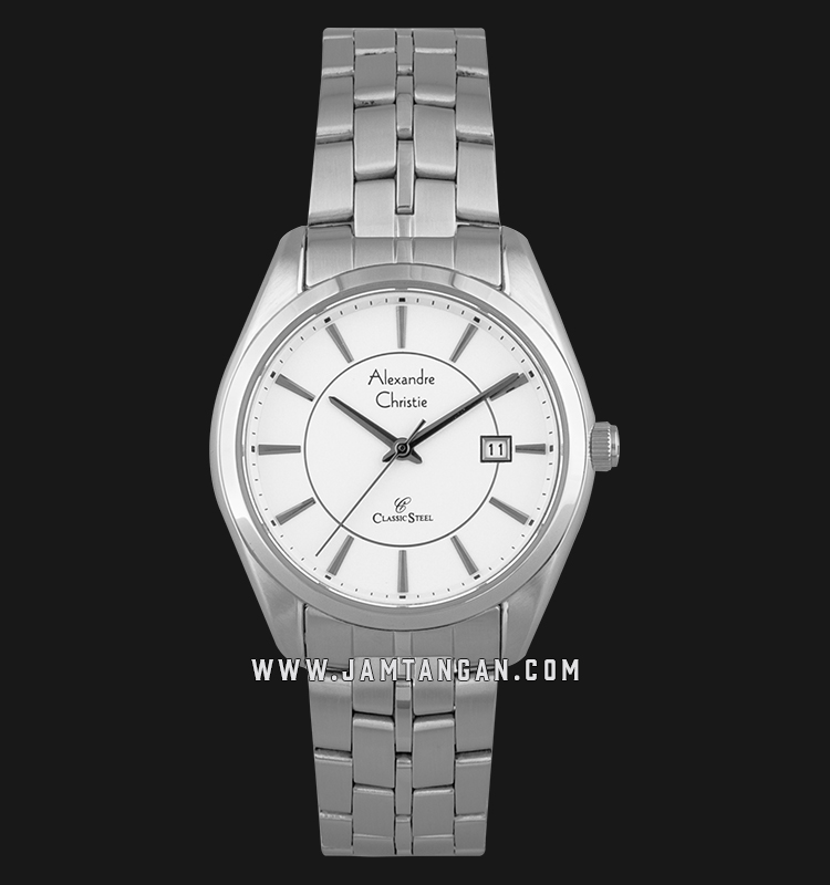 Alexandre Christie AC 8578 LD BSSSL Classic Steel Ladies White Dial Stainless Steel Machtwatch