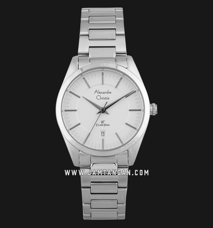 Alexandre Christie AC 8579 LD BSSSL Classic Steel Ladies White Dial Stainless Steel Machtwatch
