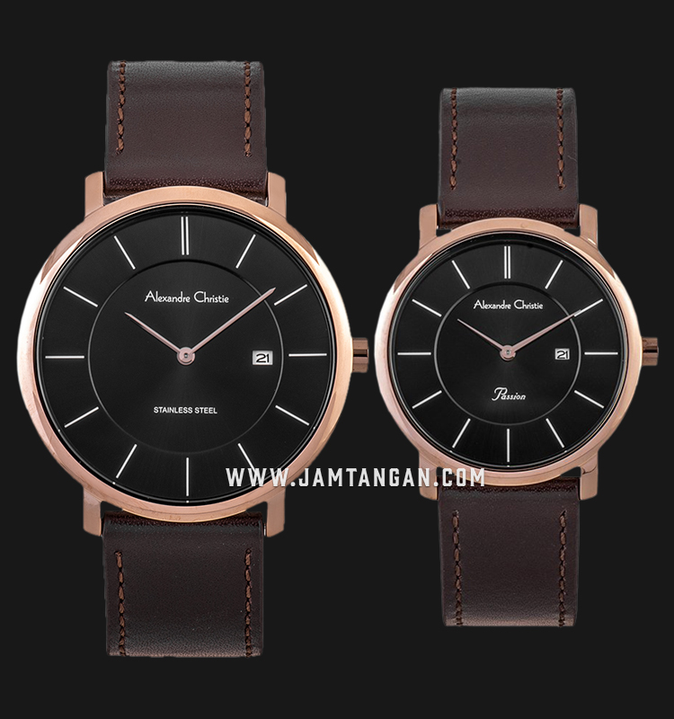 Alexandre Christie AC 8589 LRGBA Couple Black Dial Brown Leather Strap Machtwatch
