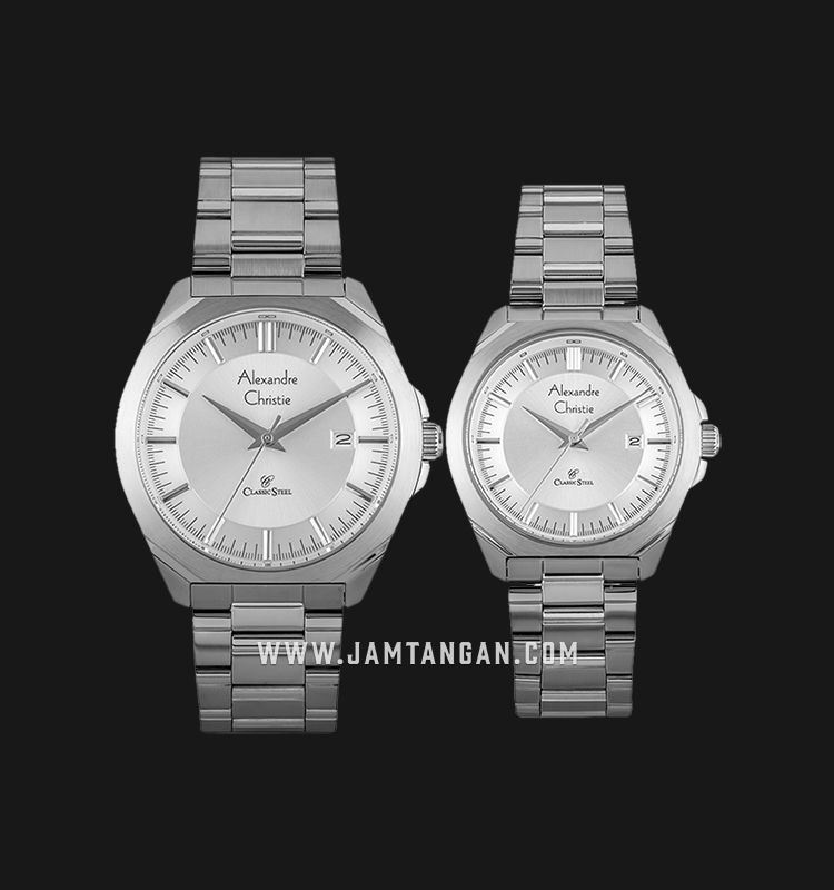 Alexandre Christie AC 8596 BSSSL Couple Silver Dial Stainless Steel Machtwatch
