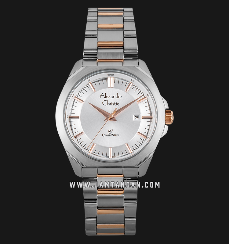 Alexandre Christie AC 8596 LD BTRSL Ladies White Dial Dual Tone Stainless Steel Machtwatch