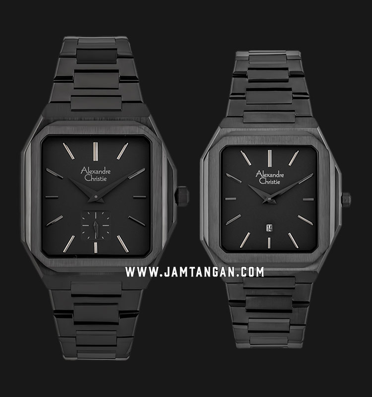 Alexandre Christie AC 8601 BIGGR Couple Black Dial Black Stainless Steel  Strap | Jamtangan.com
