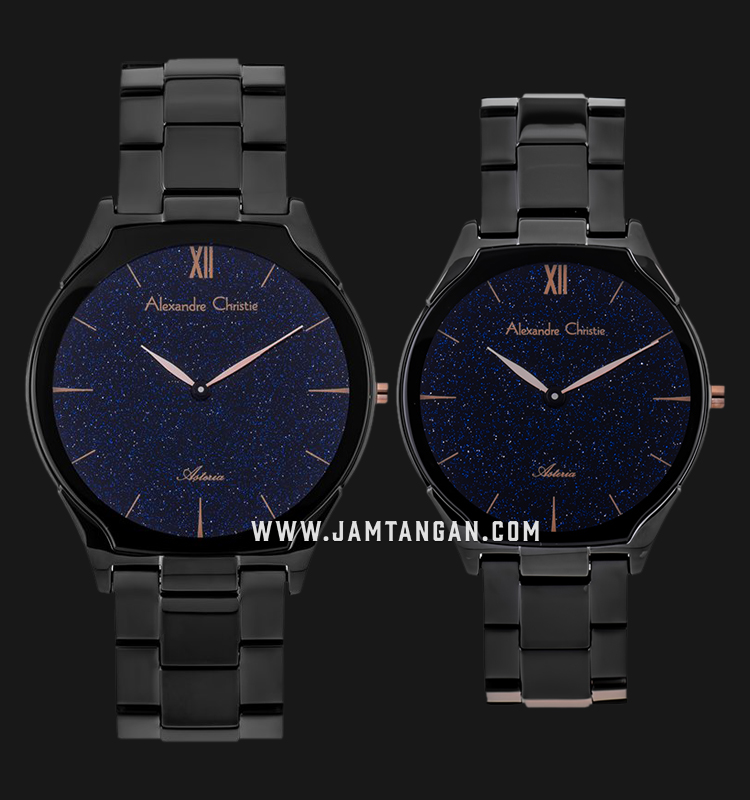 Alexandre Christie AC 8602 BIPBAIV Couple Black Glitter Dial Black Stainless Steel Strap Machtwatch