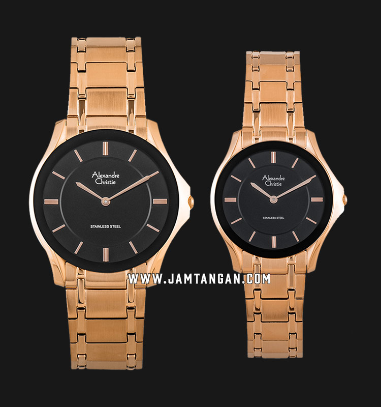 Alexandre Christie AC 8605 BRGBA Couple Black Dial Rose Gold Stainless Steel Strap Machtwatch