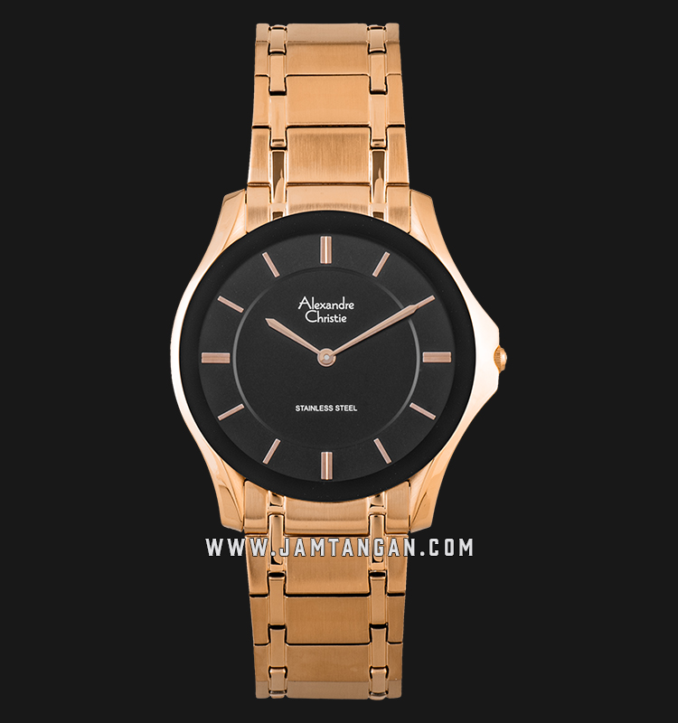 Alexandre Christie Ac 8605 Mh Brgba Black Dial Rose Gold Stainless Steel Strap Jamtangan Com