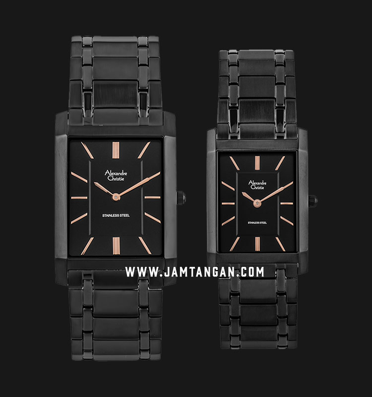 Alexandre Christie AC 8606 BIPBARG Couple Black Dial Black Stainless Steel Strap Machtwatch
