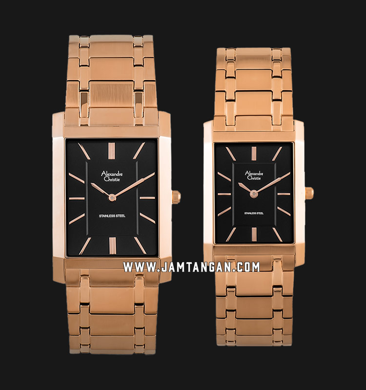 Alexandre Christie AC 8606 BRGBA Couple Black Dial Rose Gold Stainless Steel Strap Machtwatch