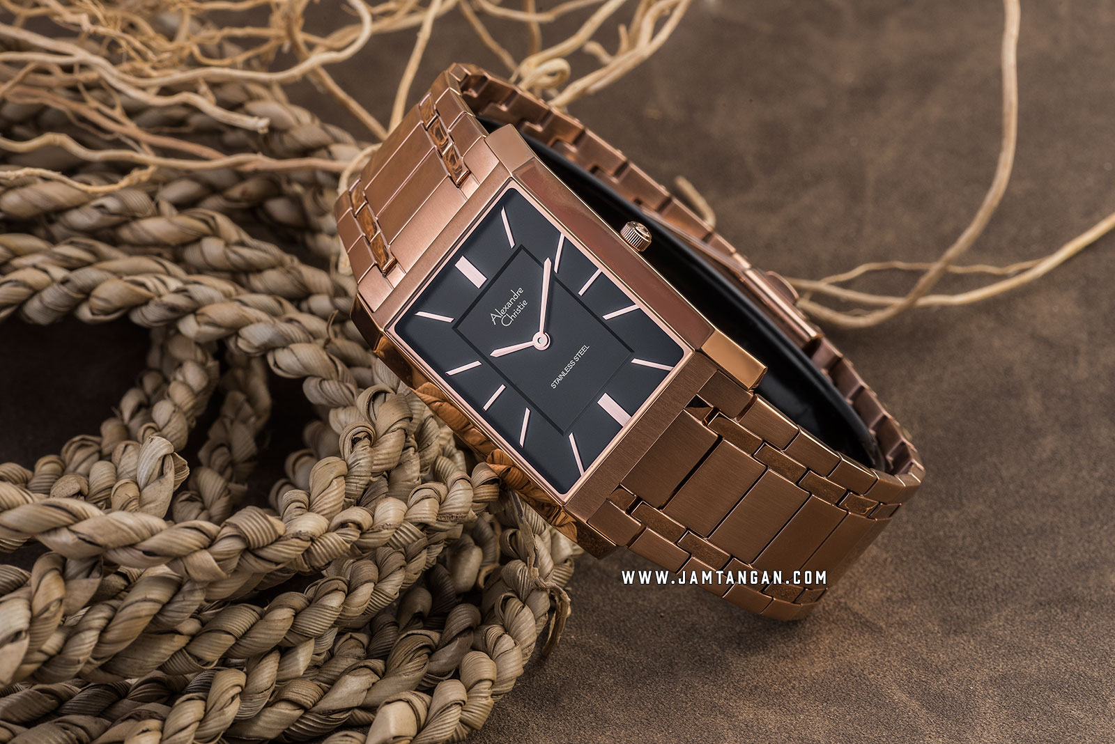 Alexandre Christie AC 8606 MH BRGBA Black Dial Rose Gold Stainless Steel Strap Machtwatch