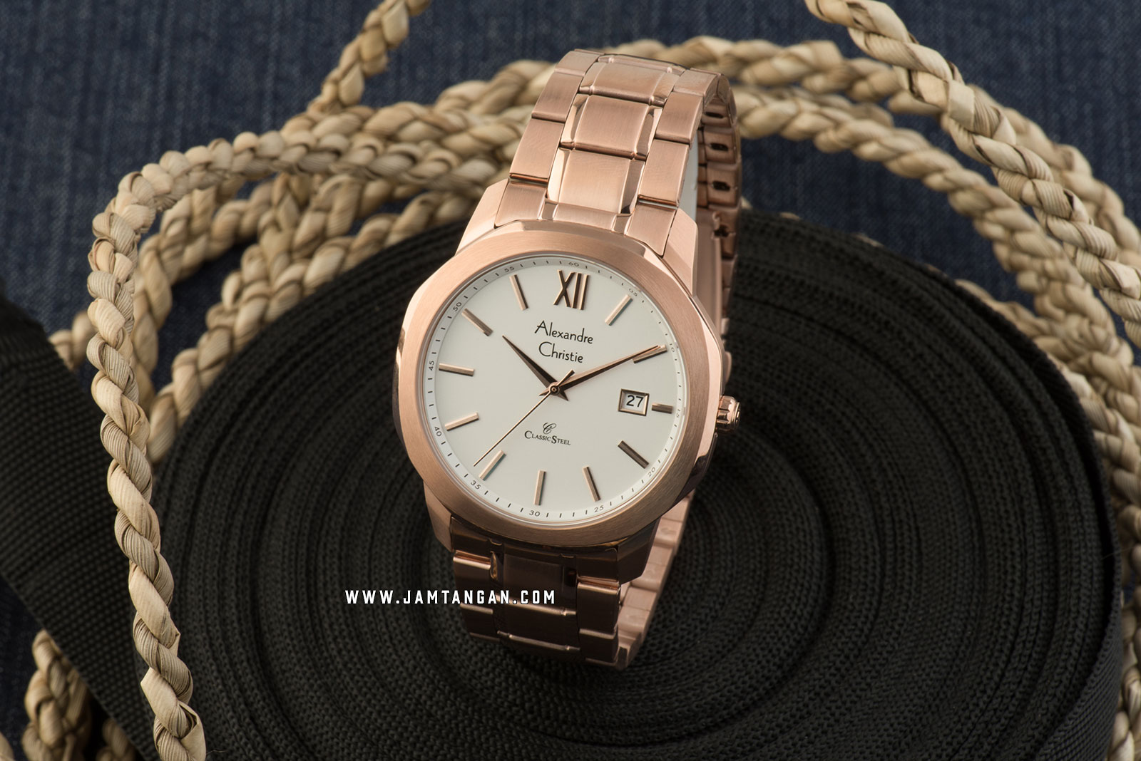 Alexandre Christie AC 8619 MD BRGSL Classic Steel Men Silver Dial Rose Gold Stainless Steel Strap Machtwatch