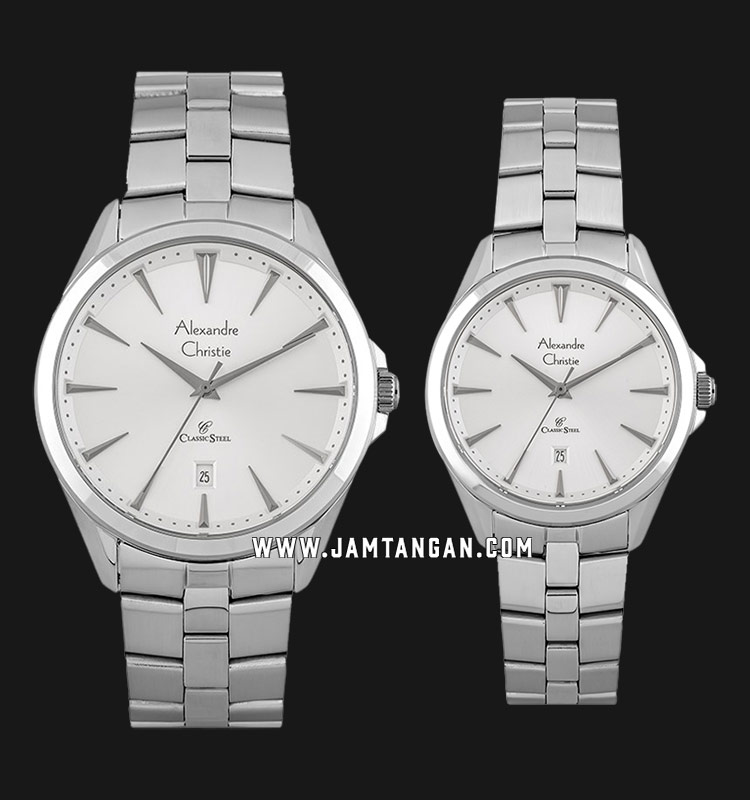 Alexandre Christie AC 8620 BSSSL Classic Steel Couple Silver Dial Stainless Steel Strap Machtwatch