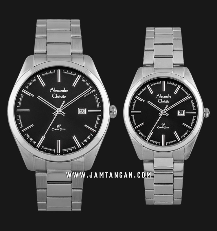 Alexandre Christie AC 8621 BSSBA Classic Steel Couple Black Dial Stainless Steel Strap Machtwatch