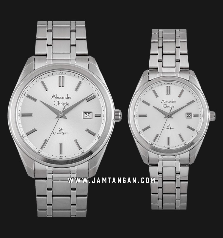 Alexandre Christie AC 8621 BSSSL Classic Steel Couple Silver Dial Stainless Steel Strap Machtwatch
