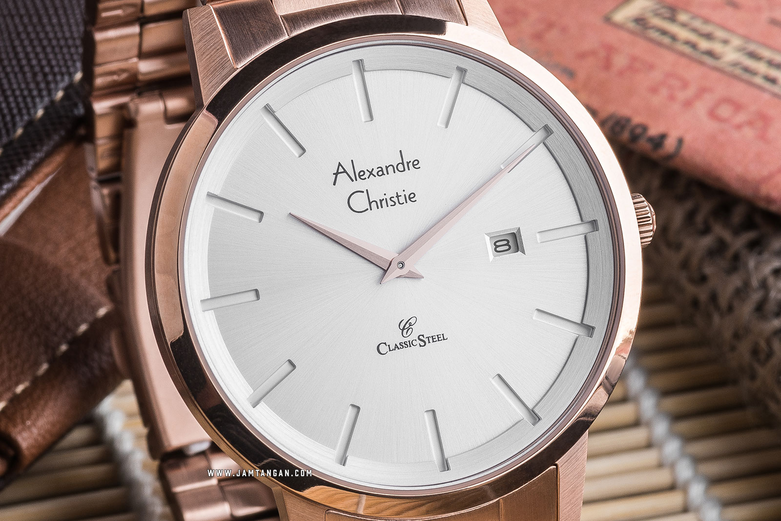 Alexandre Christie AC 8622 MD BRGSL Classic Steel Silver Dial Rose Gold Stainless Steel Machtwatch