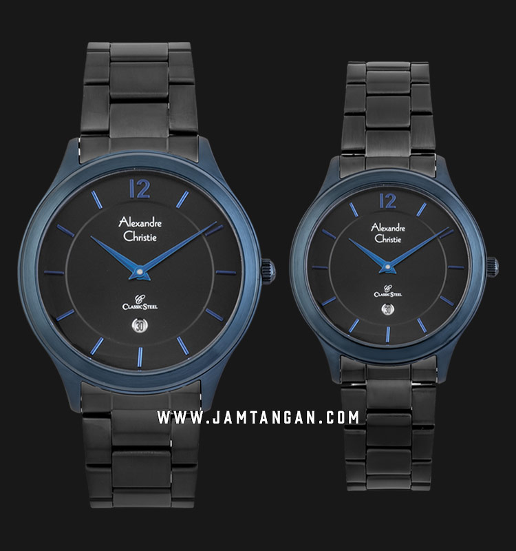 Alexandre Christie AC 8623 BUBBA Classic Steel Couple Black Dial Black Stainless Steel Strap Machtwatch