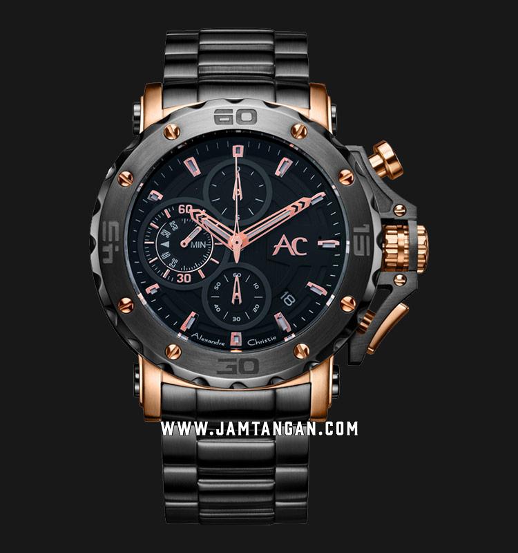 Alexandre Christie AC 9205 MC BBRBA Chronograph Black Dial Stainless Steel    Jamtangan.com