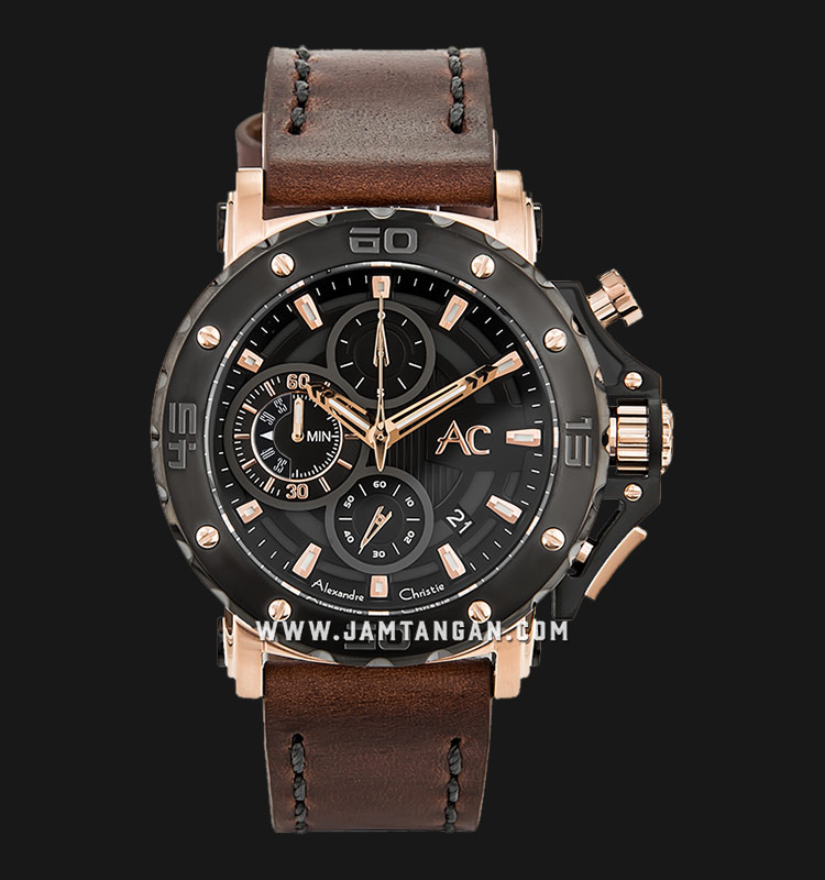Alexandre Christie AC 9205 MC LBRBA Chronograph Men Black Dial Brown Leather Strap Machtwatch
