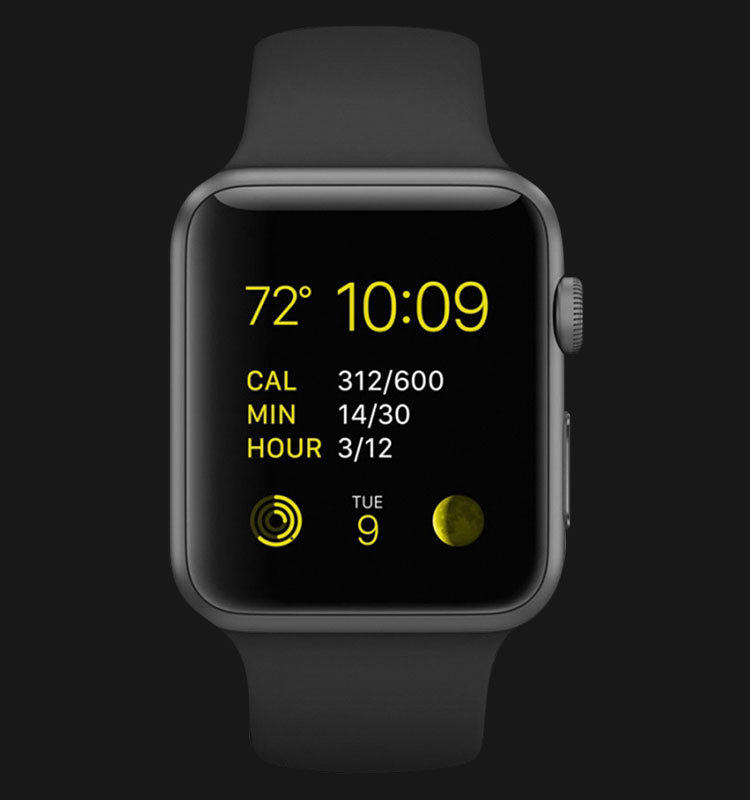 Apple Watch 38mm Space Gray Aluminum Case with Black Sport Band - MJ2X2ZP/A Machtwatch