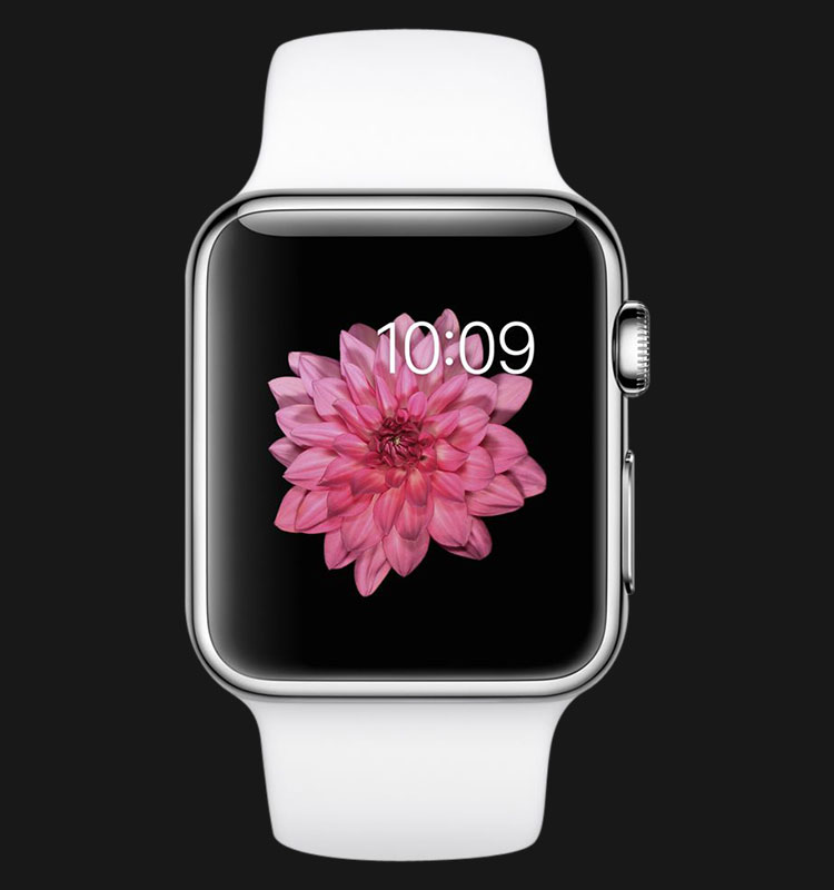 Apple Watch 38mm Stainless Steel Case with White Sport Band - MJ302ZP/A Machtwatch